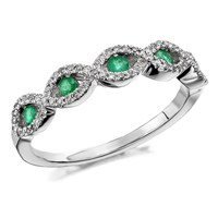 9ct White Gold Emerald And Diamond Double Plait Ring - 17pts - D6370-N