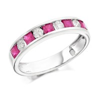 9ct White Gold Ruby And Diamond Half Eternity Ring - 30pts - D6375-O