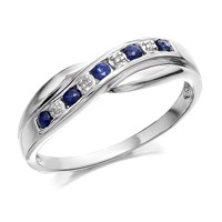 9ct White Gold Sapphire And Diamond Crossover Half Eternity Ring - D6387-L