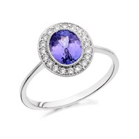 9ct White Gold Oval Tanzanite And Diamond Cluster Ring - 1/4ct - D6391-J