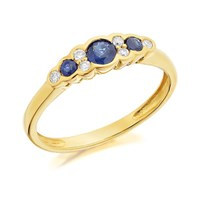 9ct Gold Sapphire And Diamond Ring - 9pts - D6404-L