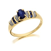 9ct Gold Diamond And Sapphire Ring - D6408-Q