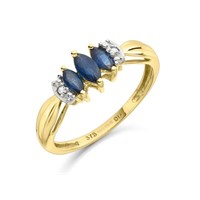 9ct Gold Triple Marquise Sapphire And Diamond Ring - D6411-N