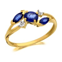 9ct Gold Sapphire And Diamond Corsage Ring - D6412-J