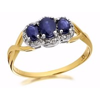 9ct Gold Sapphire And Diamond Cluster Ring - 10pts - D6415-J