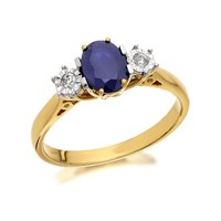 9ct Gold Sapphire And Diamond Trilogy Ring - 5pts - D6419-S