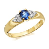9ct Gold Sapphire And Diamond Ring - 12pts - D6420-K
