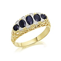 9ct Gold Diamond And Sapphire Ring - D6472-L