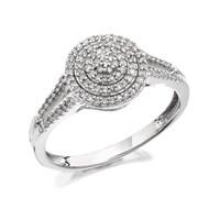 9ct White Gold Split Shoulder Diamond Cluster Ring - 20pts - D6604-R
