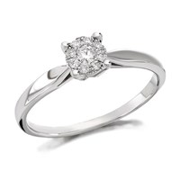 9ct White Gold Diamond Starburst Ring - 12pts - D6605-J