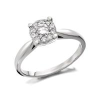 9ct White Gold Diamond Starburst Ring - 1/3ct - D6607-J