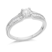 9ct White Gold Solitaire And Channel Set Diamond Ring - 1/2ct - EXCLUSIVE - D6613-S