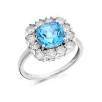 9ct White Gold Blue Topaz And 1 Carat Diamond Cluster Ring - D6616-P