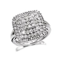 9ct White Gold 1 Carat Four Tier Diamond Cluster Ring - D6618-K