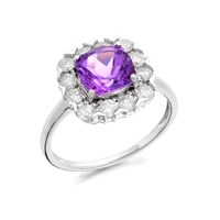 9ct Gold Amethyst And 1 Carat Diamond Cluster Ring - D6619-Q