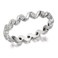 9ct White Gold Diamond Wave Full Eternity Ring - 10pts - D6649-P