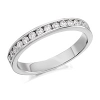 9ct White Gold Diamond Half Eternity Ring - 1/2ct - AGI Certificated - D6653-P