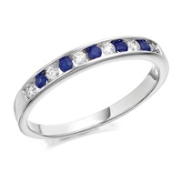 9ct White Gold Sapphire And Diamond Half Eternity Ring - 14pts - D6664-J