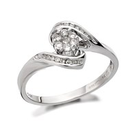 9ct White Gold Diamond Crossover Cluster Ring - 1/4ct - D6670-N