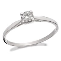 9ct White Gold Diamond Starburst Ring - 8pts - D6679-J