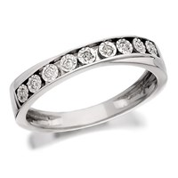 9ct White Gold Diamond Crossover Half Eternity Ring - 6pts - D6683-N