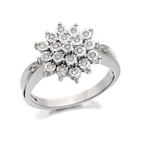 9ct White Gold Diamond Three Tier Cluster Ring - 12pts - D6684-J