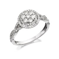 9ct White Gold Diamond Cluster Crossover Ring - 60pts - D6685-S