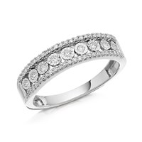 9ct White Gold Diamond Band Ring - 20pts - D6695-M