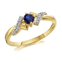 9ct Gold Sapphire And Diamond Crossover Ring - D6703-K