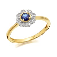9ct Gold Sapphire And Diamond Flower Cluster Ring - D6706-Q