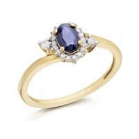 9ct Gold Oval Sapphire And Diamond Twist Cluster Ring - 10pts - D6710-J