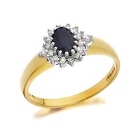 9ct Gold Diamond And Sapphire Cluster Ring - 15pts - D6755-O