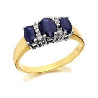 9ct Gold Diamond And Sapphire Ring - D6770-P