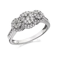 9ct White Gold 1 Carat Diamond Trilogy Cluster Ring - D6803-Q