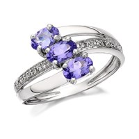 9ct White Gold Tanzanite And Diamond Crossover Ring - EXCLUSIVE - D6804-K