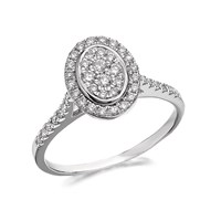 9ct White Gold Diamond Cluster Ring - 1/2ct - D6808-M