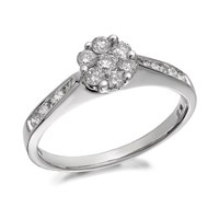 9ct White Gold Diamond Cluster Ring - 1/2ct - D6811-R