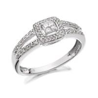 9ct White Gold Split Shoulder Diamond Cluster Ring - 20pts - D6813-K