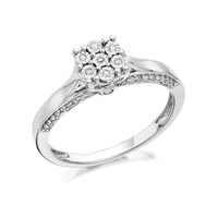 9ct White Gold Diamond Cluster Ring - 20pts - D6821-S