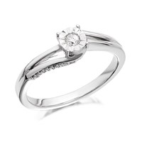 9ct White Gold Diamond Twist Ring - 14pts - D6832-N