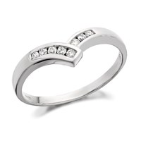 9ct White Gold Diamond Wishbone Ring - 13pts - D6834-N