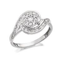 9ct White Gold Diamond Swirl Cluster Ring - 1/2ct - D6838-J