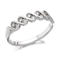 9ct White Gold Diamond Zig Zag Ring - 1/4ct - D6847-O