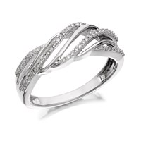9ct White Gold Diamond Open Weave Ring - 22pts - D6848-Q