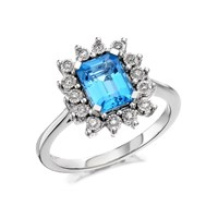 9ct White Gold Swiss Blue Topaz And Diamond Ring - 10pts - D6849-O