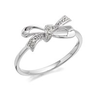 9ct White Gold Diamond Bow Ring - D6858-S