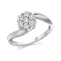 9ct White Gold Diamond Cluster Twist Ring - 5pts - D6863-K