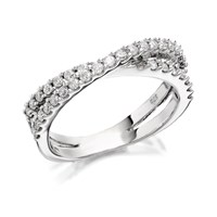 9ct White Gold Double Strand Diamond Crossover Band Ring - 1/2ct - D6864-N
