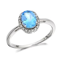 9ct White Gold Blue Topaz And Diamond Cluster Ring - 8pts - D6868-J
