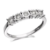 9ct White Gold Five Stone Diamond Ring - 15pts - D6877-J